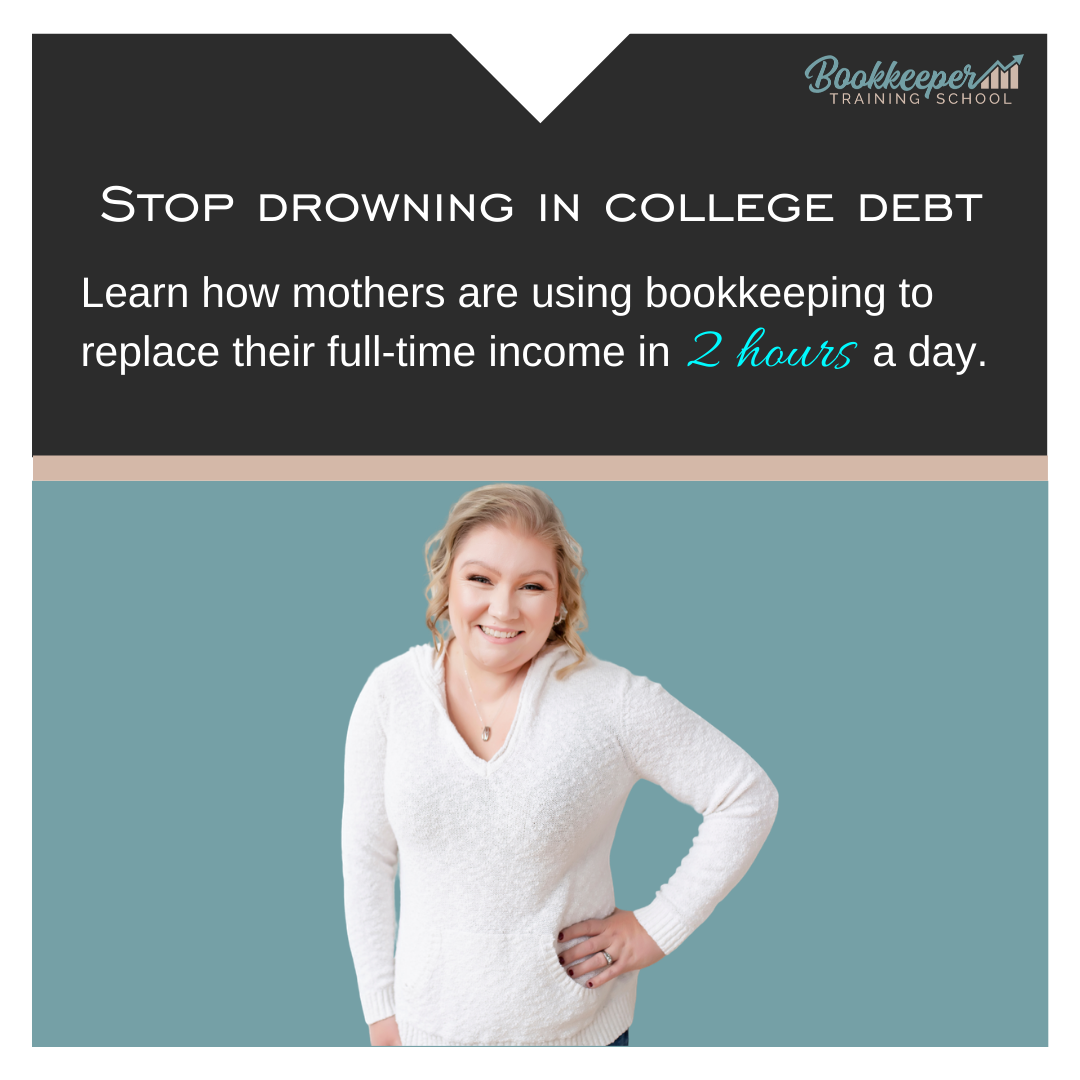 Stop Drowning in debt ad for bookkeeper training school